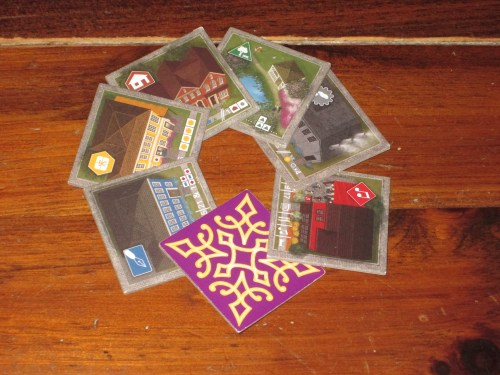 There are six different building tiles in Between Two Cities, each of which scores a little differently.