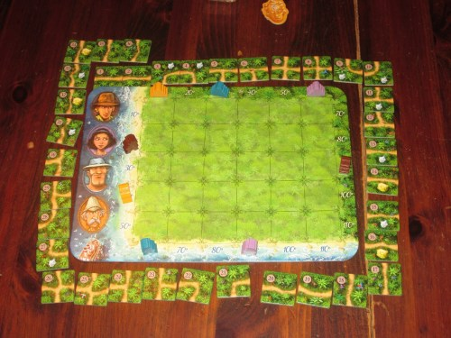 All thirty-six of the tiles are placed around a player's board. In addition to making tiles easy to locate, this setup allows players to hope for what gets drawn next.