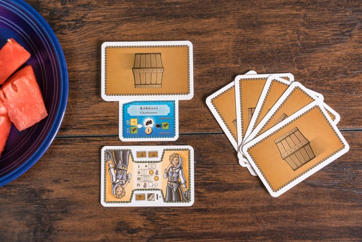 Your charburner, worker and hand of cards for the basis of your potential production powers.
