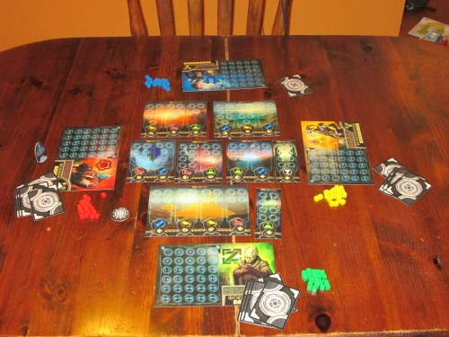 Planet Rush set up for four players.