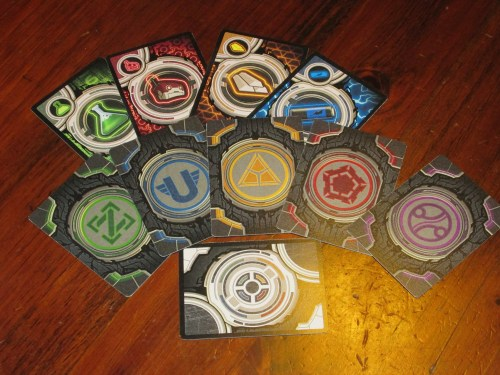 The cards in Planet Rush. These are standard-size cards, which are easier to hold than the smaller cards in Tower of Babel.