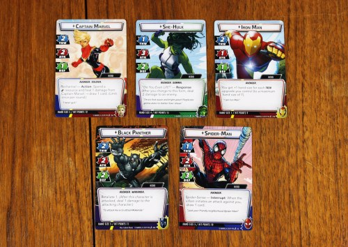 Captain Marvel, She-Hulk, Iron Man, Black Panther, and Spider-Man hero cards