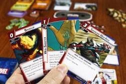A hand of Spider-Man cards; Backflip, Web-Shooter, Swinging Web Kick