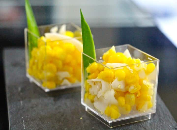 Sweetcorn, Sesame, Pandan, Coconut, & Butter Dessert