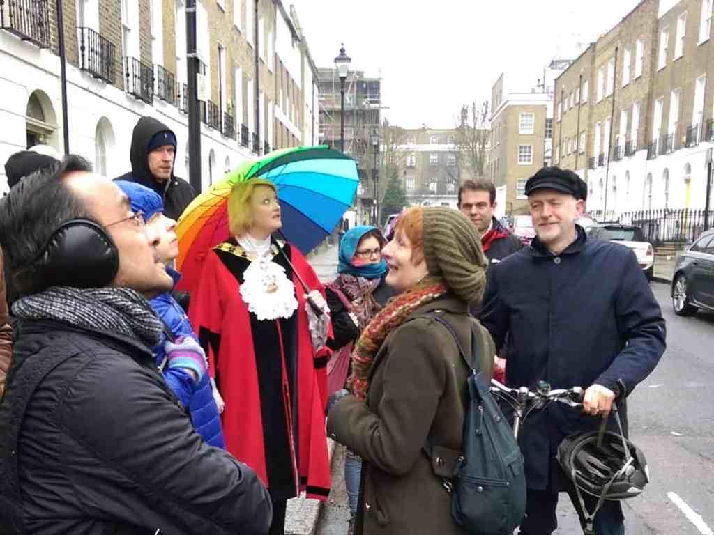 Islington's Mayor, other walkers and Jeremy Corbyn on a walk