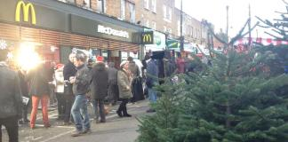 The snow came early to Chapel Market as McDonalds filmed their Christmas advert. Photo: Jemma Buckley