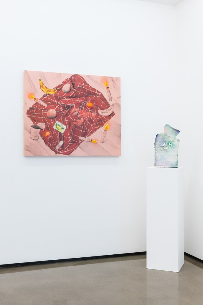 Mark Posey, Still Life With Red Folds And Lobster (2017), Acrylic, Oil and Spray on Canvas, 84x100cm and Daniel Jensen, The Party's Over (2017), Sand Cast Aluminium, Enamel and Spray Paint, 42x25x9cm