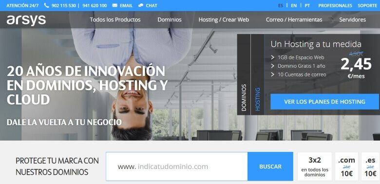 arsys servicio hosting pagina web