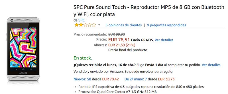 SPC Pure Sound Touch - Reproductor MP5