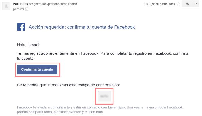 confirmar cuenta de facebok