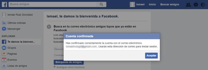 ¡Cuenta confirmada! Ya tienes tu perfil personal en Facebook