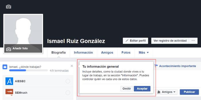 Información general de tu nueva cuenta de Facebook