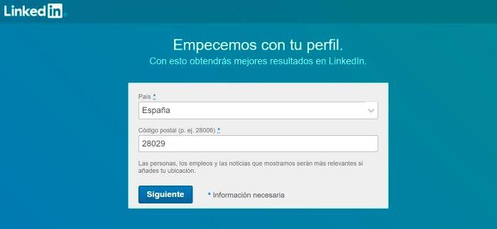 completar datos personales de linkedin