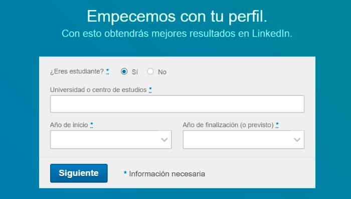 informacion educativa para crear una cuenta en linkedin