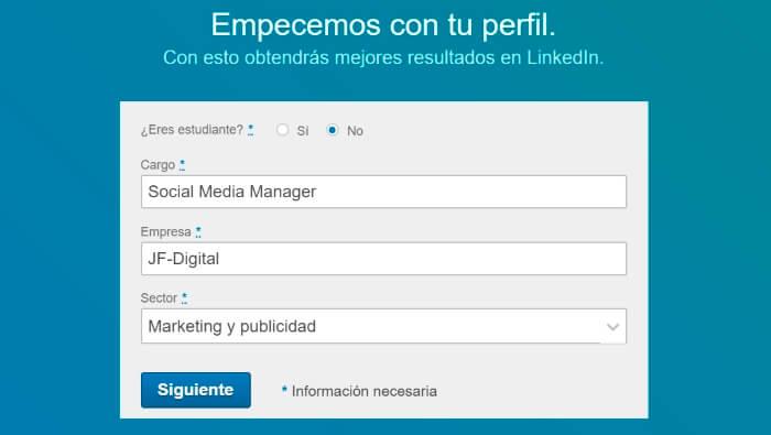 informacion laboral para crear una cuenta en linkedin