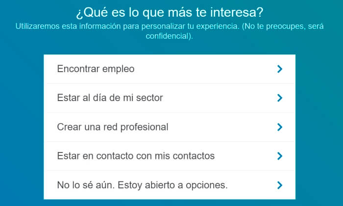 intereses para abrir un linkedin