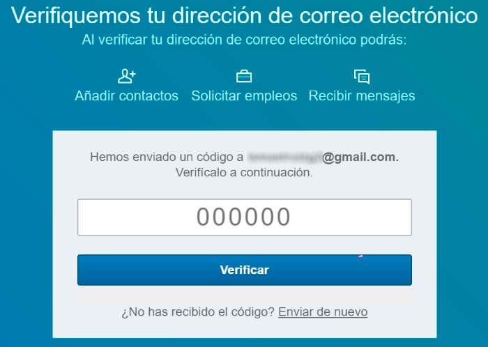 verificacion de la cuenta de linkedin