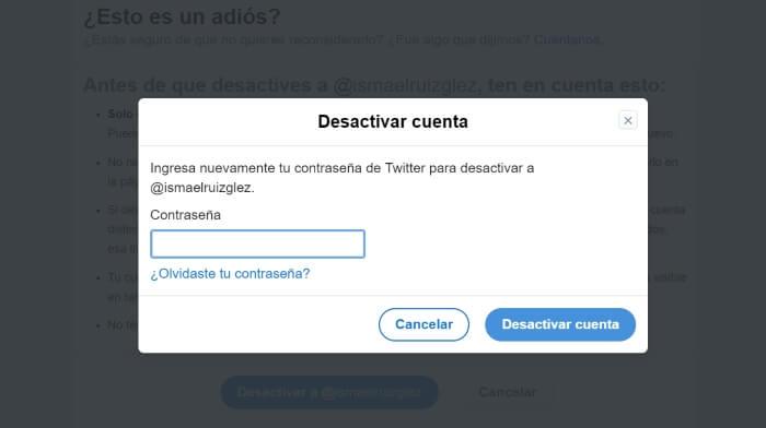 eliminar una cuenta de twitter previa desactivacion