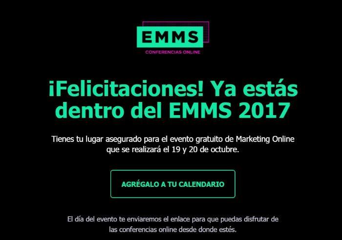 Confirmación de registro en EMMS
