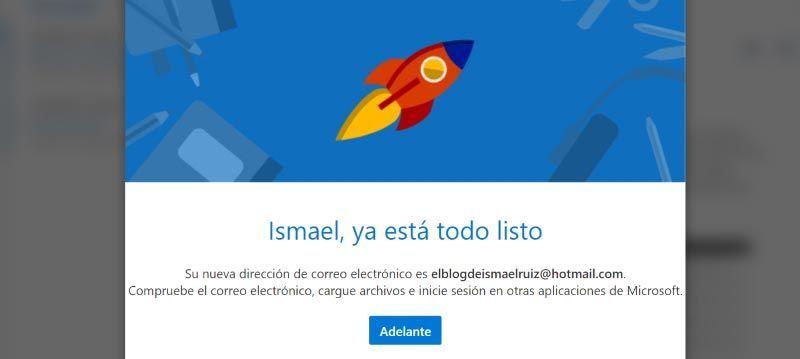 ¡Disfruta de tu nueva cuenta de Hotmail!
