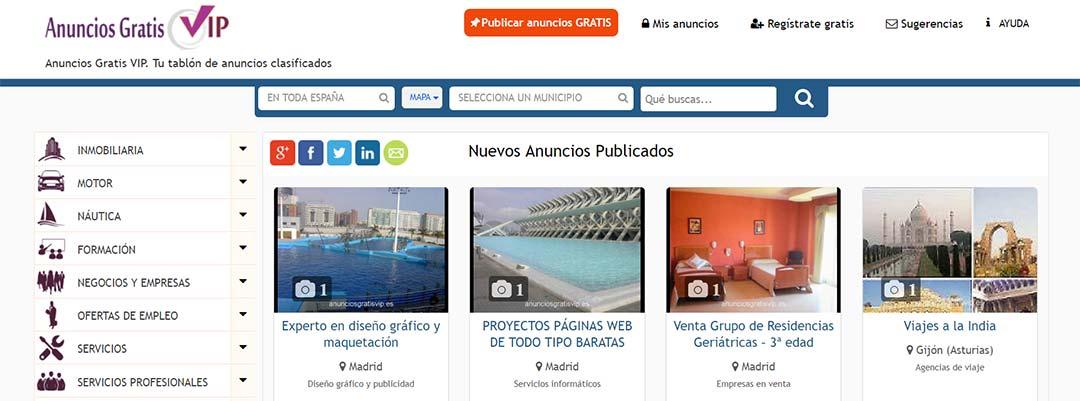 ANUNCIOS GRATIS VIP, tablón de anuncios clasificados