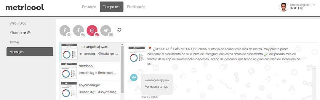 Mensajes privados de redes sociales desde Metricool