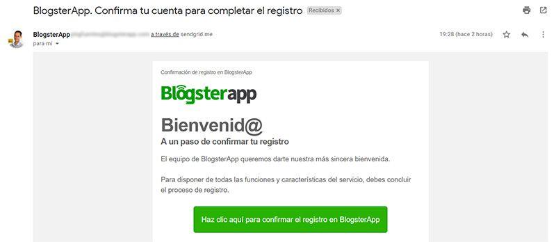 Confirma tu registro en BlogsterApp