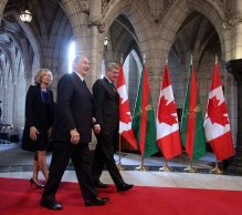 His Highness Prince Karim Aga Khan welcomed to the Canadian Parliament by Prime Minister Harper and his wife, Laureen