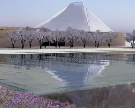 Constellations - Aga Khan Park, Toronto – Echoes of Paradise - Ismaili Centre, Toronto reflection at the Park of the Aga Khan Museum, image courtesy of Imara Wynford Drive