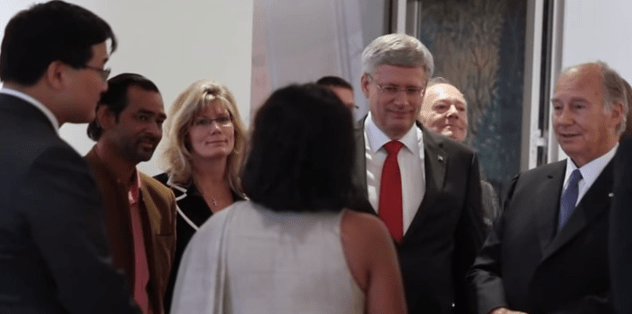 Image capture from the video of the opening of the Aga Khan Museum. From left to right: AKM CEO Henry Kim; Artist Imran Qureshi; Minister Shelly Glover; Canadian Prime Minister Stephen Harper; Prince Amyn Aga Khan and His Highness Prince Karim Aga Khan.