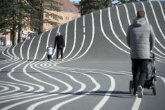 White stripes. Aga Khan Award for Architecture 2016 Winner: Superkilen, Copenhagen, Denmark