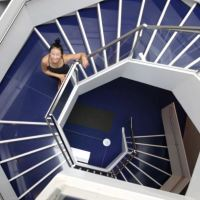 Inspired by the Fibonacci staircase at the Aga Khan Museum, YuMee Chung demonstrates the 'Upward Spiral' yoga pose