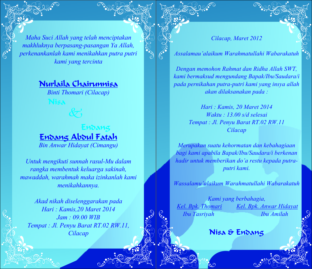 Contoh Undangan Pernikahan Isma Sofi Laily
