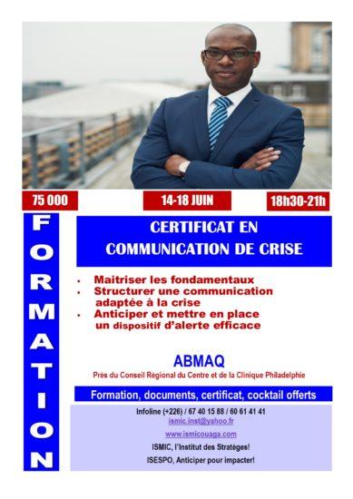 Du 14 au 18 juin, obtenez votre certificat en communication de crise