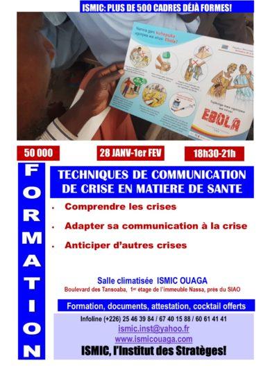 Du 28 janvier au 1er février, formation en communication de crise en matière de santé