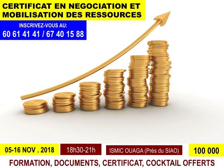 Du 05 au 16 novembre, devenez expert en négociation et mobilisation de ressources
