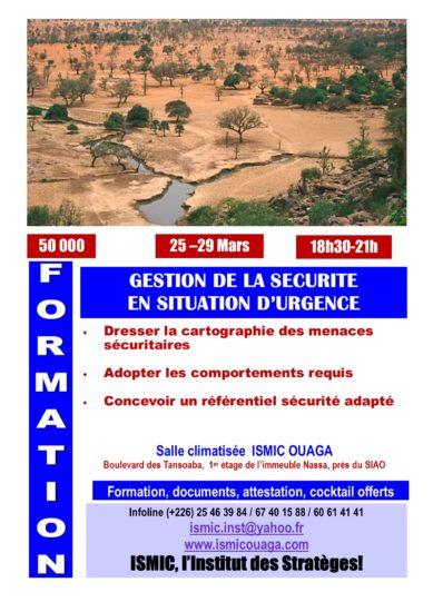 Du 25 au 29 mars, formation en gestion de la sécurité à ISMIC