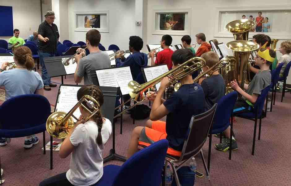 Brass Ensemble Rehearsing at International School of Music