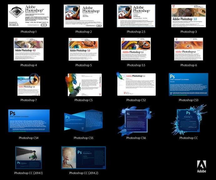 Les différentes fenêtres de démarrage de Photoshop, copyright Adobe.
