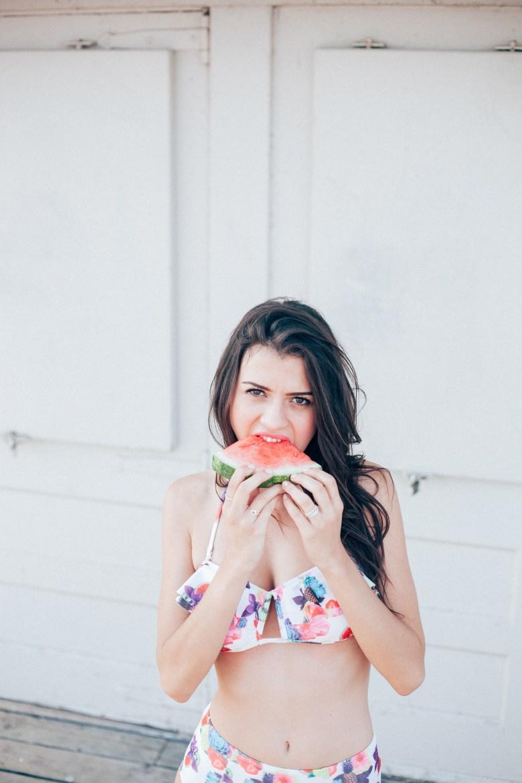bikini - fruits - beach - model photography