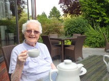 Aunt enjoys her tea