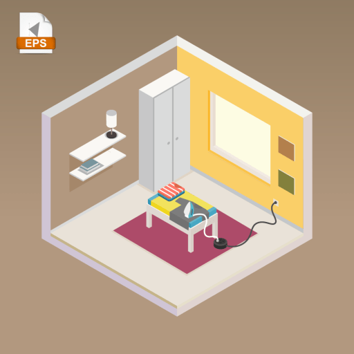 Laundry room in isometric style