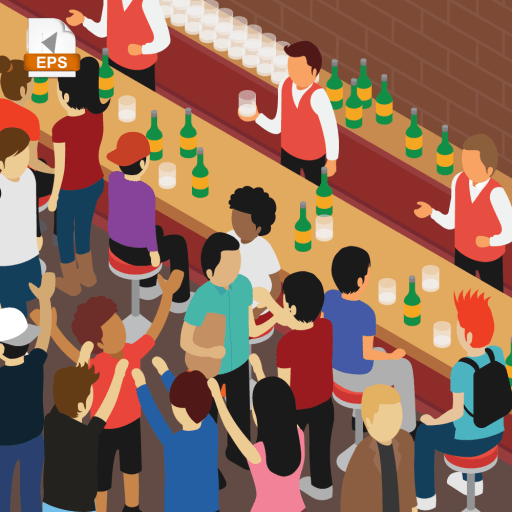 Party at a crowded bar full of people in isometric view