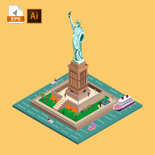Statue of Liberty beautifully build in 3D view