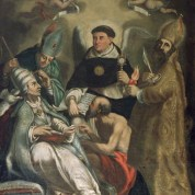 St. Thomas Aquinas with St. Gregory the Great, Sant Ambrogio, Saint Jerome and Saint Augustine, Master of Boldone