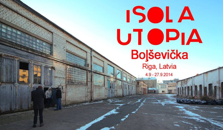 Isola Utopia, Survival Kit 6-Utopian City, Riga, Lituania. Banner Bert Theis
