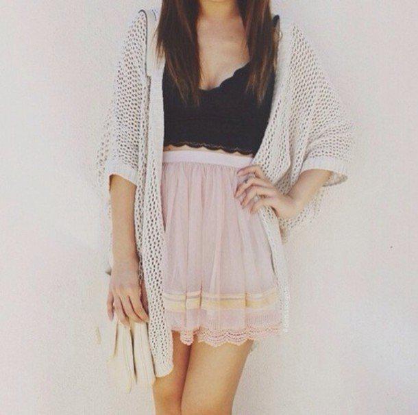 bta-top-and-pink-skirt-and-cardigan-summer-women-outfits | 10 прекрасных идей нарядов весны и лета 2018
