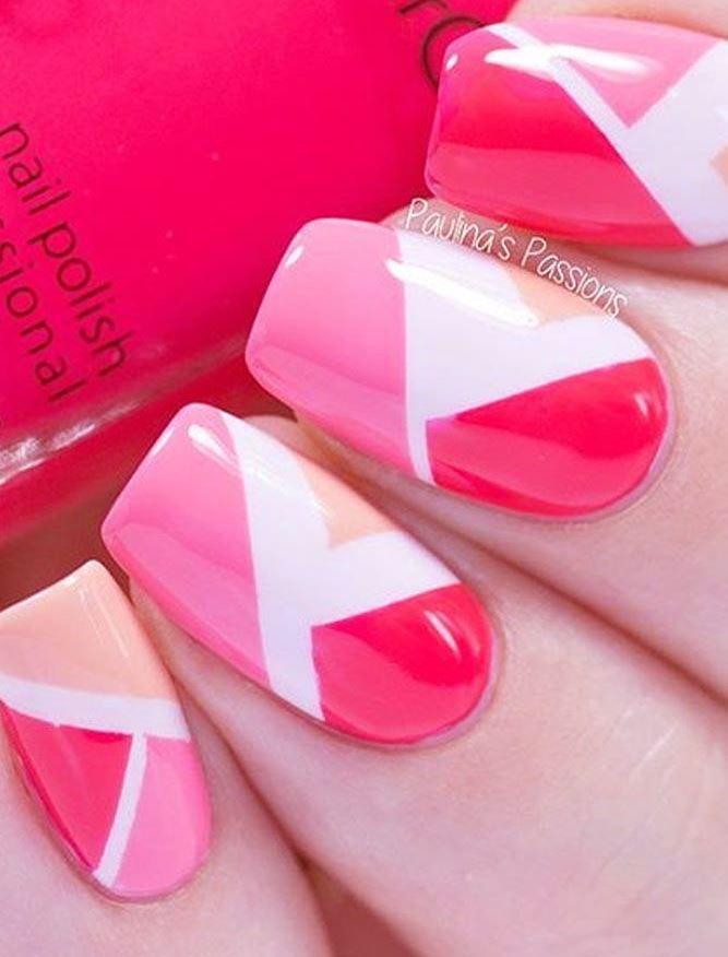 image22-21   36 вариантов стильного маникюра в модном розовом цвете «Дитя заката»