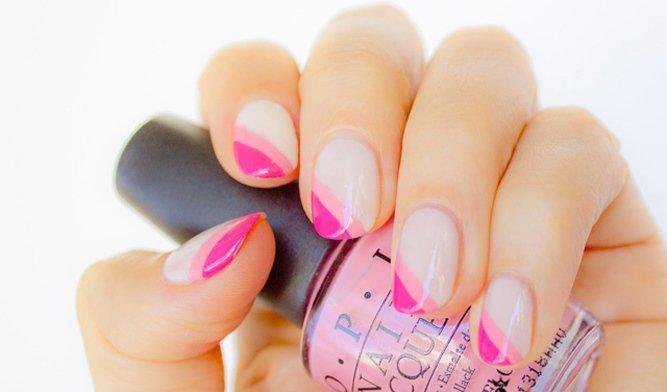 image34-9   36 вариантов стильного маникюра в модном розовом цвете «Дитя заката»