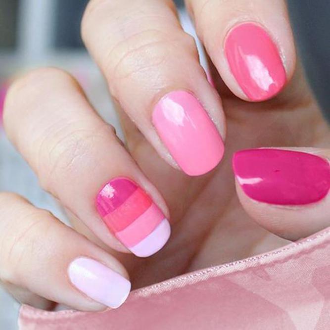 image35-8   36 вариантов стильного маникюра в модном розовом цвете «Дитя заката»
